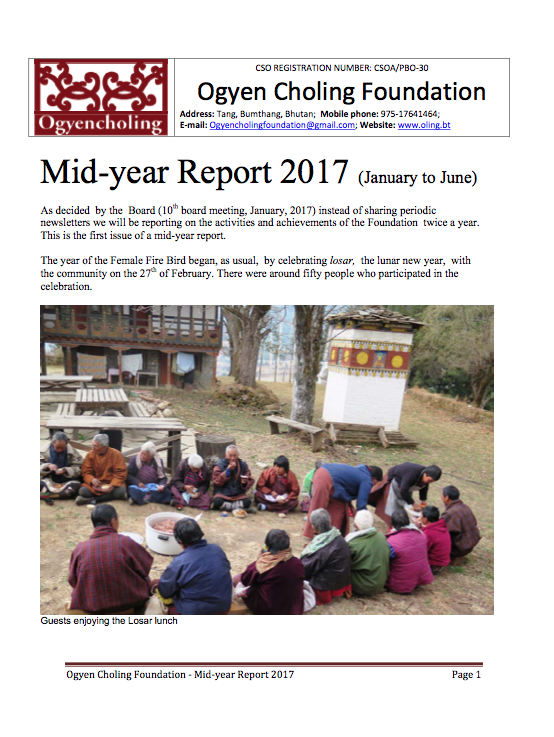 Ogyen Choling Foundation mid year reporting 2017